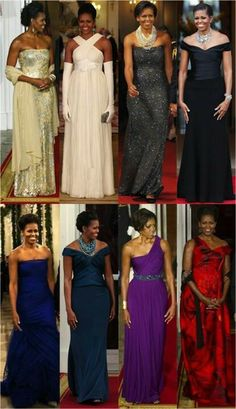 Intelligent, charismatic, and beautiful! Eight state dinners. The looks of First Lady Michelle Obama. Michelle Und Barack Obama, Michelle Obama Fashion, Barack Obama Family, Obamas Family, Beautiful Black Women, Beautiful People, Beautiful Gowns, Robinson, First Ladies
