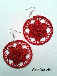 jw Wire Crochet, Crochet Motif, Crochet Crafts, Crochet Leaves, Crochet Flowers, Jewelry Crafts, Handmade Jewelry, Crochet Earrings Pattern, How To Make Purses