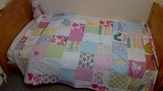 Patch work baby blanket made from baby's old clothes.lovely keepsake.