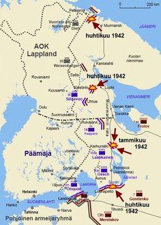 Puna-armeijan operatiiviset hyökkäykset asemasotavaiheessa 1942; hyökkäykset torjuttiin tammikuussa Maaselän kannaksella ja huhtikuussa kolmelta suunnalta: Petsamossa, Kiestingissä ja Syvärillä