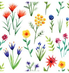 Seamless background with watercolor flowers vector by An_Mi on VectorStock®
