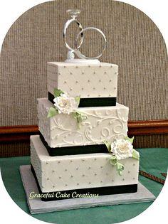 Elegant White Square Wedding Cake