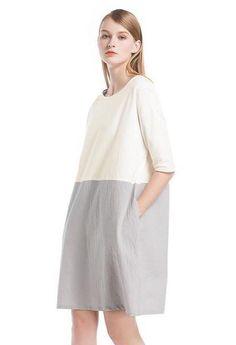 a2c9cff0c55341 2018 New Cotton Linen Dress Casual Women Vintage Oversized Loose Dress O  Neck 3/4 Sleeve Pockets Plus Size Dress White Vestidos