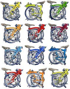 Brompton bicycle prints, drawings & water colours celebrating the Brompton Bicycle by Illustrator & print maker Diana Powell. Bicicleta Brompton, 4 Wheel Bicycle, Bmx, Bicycle Drawing, Bicycle Print, Bike Poster, Hood Ornaments, Cycling Art, Bike Art