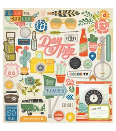 """Open Road Chipboard Stickers 12""""X12""""-Accents    Ok, I want the entire Crate Papepr Open Road collection!"""