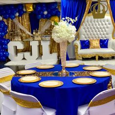 👑A Royal Welcome for Prince Caesar👑 Entire Set up & design done by Ballon garland & canopy draping Love seat… Blue Wedding Decorations, Sweet 16 Decorations, Quinceanera Decorations, Royalty Baby Shower, Baby Shower Princess, Birthday Party Centerpieces, Birthday Decorations, Prince Birthday Party, 15 Birthday