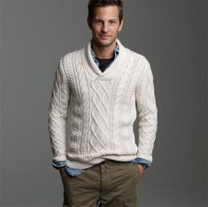 I don't agree with how they chose to layer this piece (the collared shirt looks smushed and bulks the sweater in an unflatering away for such a good body)...but, I DO like the sweater.  It would be layered better with a bold colored long sleeve teeshirt.