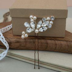 Diamante de cristal perla nupcial Pin hojas por jewellerymadebyme