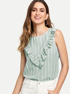 Green Cute Round Neck Sleeveless Striped Fabric has no stretch Summer Blouses, size features are:Bust: ,Length: Regular ,Sleeve Length:Sleeveless Summer Blouses, Summer Shirts, Ruffle Fabric, Moda Chic, Shell Tops, Green Fashion, Fashion News, Fashion Women, Women's Fashion
