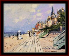 Cross Stitch Collectibles - Detail1 - MO-100 - Boardwalk at Trouville - All cross stitch - Impressionist cross stitch - Landmarks cross stitch - Monet cross stitch - Nature cross stitch - Scenic cross stitch - Cross Stitch Collectibles