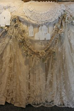 Sheelin Antique Lace Shop,,,love the lace and the flower garland