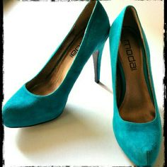 "Moda Spana Platform Heels Turquoise suede heels worn only a few times.  Size 7.5 with 4.5"" heels. Great condition. Blue-green, teal. Moda Spana Shoes Platforms"