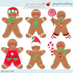 Gingerbread Boys Cute Digital Clipart - Commercial Use OK - Gingerbread Cilpart, Christmas Graphics, Christmas Clipart