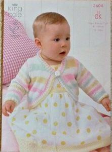 Babies Round Neck Bolero Jacket Candystripe DK Knitting Pattern