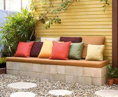 16 Ideas For Cement Patio Diy Cinder Block Bench Concrete Patios, Cement Patio, Concrete Blocks, Diy Concrete, Patio Paint, Concrete Bench, Concrete Projects, Cinder Block Furniture, Cinder Block Bench