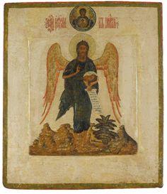 St John the Forerunner, Angel of the Desert, century Byzantine Icons, Byzantine Art, Religious Icons, Religious Art, Russian Icons, Russian Orthodox, Angels Among Us, John The Baptist, Orthodox Icons