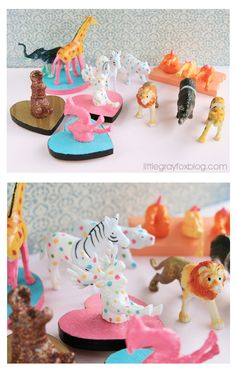 Love all the stuff she does with them, great photo's too.  By Little Gray Fox: Plastic Animal Crafts