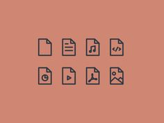 File Type Line Icons | Document, Music File, Code File, Powerpoint, Video File, PDF and Image Icons