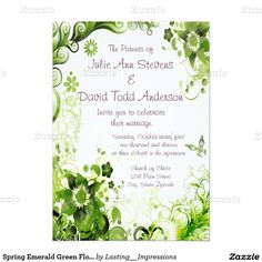 Spring Emerald Green Floral Wedding 5x7 Paper Invitation Card