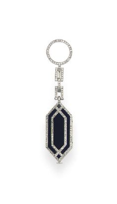 AN ART DECO ONYX AND DIAMOND LAPEL WATCH, BY VAN CLEEF & ARPELS