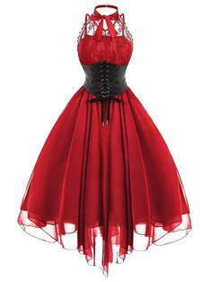 2019 Gothic Bow Party Dress Women Vintage Black Sleeveless Cross Back Lace Panel Corset Swing Dress Robe Vestidos Femme, Red / XL Gothic Corset Dresses, Corset Sexy, Goth Dress, Lace Corset, Red Corset Dress, Lolita Dress, Lace Dress, Steampunk Corset Dress, Black Gothic Dress