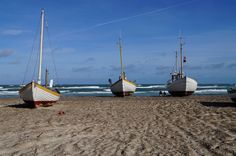 Slettestrand fishing boats on the beach.  Vesterhavet, Slettestrand, Denmark.