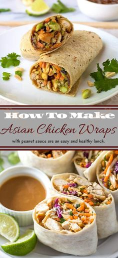 This eatery propelled Asian chicken wrap formula is loaded up with vegetables, protein and soaked with a somewhat fiery, velvety shelled nut sauce. Makes 6 chicken wraps. Asian Chicken Wraps, Peanut Chicken, Coleslaw Mix, Healthy Diet Recipes, How To Cook Chicken, Clean Eating, Food And Drink, Yummy Food, Lunch