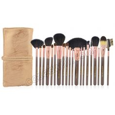20 pcs Goat Hair make up tools kit Cosmetic Beauty Makeup Brush Sets with Leather Case - Champagne US$28.69