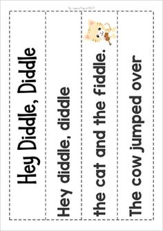 Hey Diddle, Diddle Nursery Rhyme Worksheets and Activities. Pocket chart sentence strips with pictures.