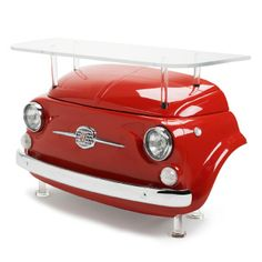 """Fiat 500 Design Collection – Furniture  The console, """"CIN CIN"""" has the front of the 1970′s FIAT 500, tempered glass top and polished aluminum supports. Available in three heights.  by http://fiat500design.com"""