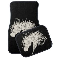 Floor Mats for the Truck or Car of the horse lover equestrian! Has a fun abstract arabian style horse head. Great for anyone who rides and loves horses and ponies.