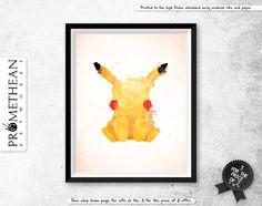 Pokemon inspired pikachu mixed media watercolor / watercolour effect print - 3…