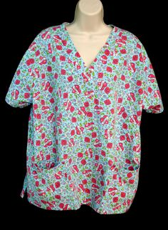 JUST LOVE Scrub Top Womans Plus Size 2X Hearts Birds Nurse CNA Dental Vet Tech #JustLove