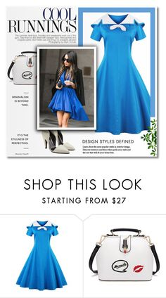 """""""Sailor Collar Short Sleeve Flared Dress 57"""" by blagica92 ❤ liked on Polyvore featuring Calvin Klein 205W39NYC"""