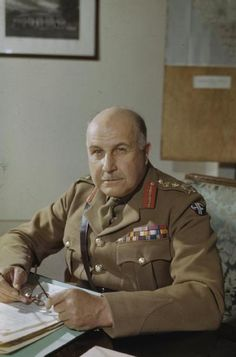 General Sir Maitland Wilson, Supreme Allied Commander, Mediterranean Theatre, at his desk in Caserta, 30 April 1944 Women In History, World History, World War Ii, Ancient History, Military Ranks, Military History, Military Uniforms, African American History, British History