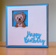 Birthday Card - Cottage Cutz Lion Die. To purchase my cards please visit CraftyCardStudio on Etsy.com.