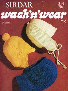 Sirdar 3141 baby hat helmet vintage knitting pattern by Ellisadine, £1.00