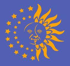 Sun Moon face stencil in a unique and original design. Sun Moon Stars, Sun And Stars, Face Stencils, Cafe Logo, Moon Illustration, Moon Face, Good Morning Sunshine, Good Night Moon, Sun Art