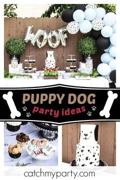 Check out this awesome puppy dog birthday party! Dog First Birthday, Puppy Birthday Parties, Baby Boy 1st Birthday Party, Trains Birthday Party, Puppy Party, Geek Birthday, 21st Birthday, Birthday Ideas, Birthday Cake