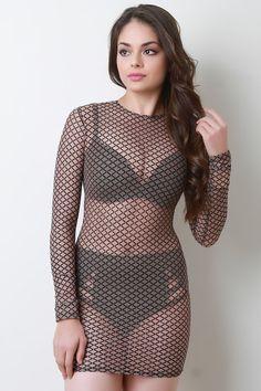 Diamond Pattern Long Sleeve Mesh Mini Dress – g. Beautiful Models, Gorgeous Women, Sexy Dresses, Girls Dresses, Transparent Clothes, Girl Outfits, Fashion Outfits, Beachwear For Women, Girl Fashion