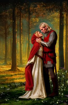 Medieval lovers by Aleta Rafton - Red Riding Hood Romance Novel Covers, Romance Art, Fantasy Romance, Romance Books, Fantasy Art, Fantasy Couples, Templer, Book Cover Art, Book Art