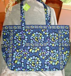 NWT VERA BRADLEY GET CARRIED AWAY TOTE TRAVEL CARRY ON COMPLIANT INDIGO POP $92 #VeraBradley #TRAVELCARRYONTOTE