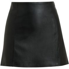 T BY ALEXANDER WANG Black Leather Miniskirt (€295) ❤ liked on Polyvore featuring skirts, mini skirts, bottoms, saias, black, mini skirt, short leather skirt, leather miniskirt, black leather skirt and black leather mini skirt