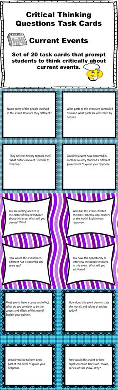 Set of twenty task cards. Use with any current event and reutilize throughout the year. Promote higher order thinking in your classroom. 6th Grade Social Studies, Social Studies Classroom, Teaching Social Studies, Student Teaching, Teaching Reading, Learning, Critical Thinking Activities, Teaching Strategies, Teaching Tools