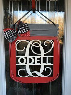 A personal favorite from my Etsy shop https://www.etsy.com/listing/502599444/mason-jar-door-hanger-monogram-door