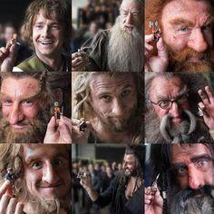 Some of The Hobbit cast pose with their Legos! Left to right, top to bottom: Martin Freeman (Bilbo), Sir Ian McKellan (Gandalf), Peter Hambleton (Gloin), Jed Brophy (Nori), Dean O'Gorman (Fili), John Callen (Oin), Adam Brown (Ori), Richard Armitage (Thorin) and William Kircher (Bifur).