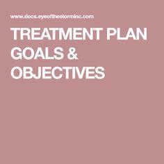 TREATMENT PLAN GOALS & OBJECTIVES