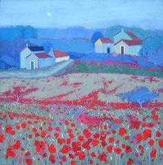 Roadside Poppies - Acrylic on canvas - H.60 x W.60cm - Giuliana Lazzerini