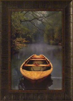 THE OLD LAKE by Carlos Casamayor FRAMED PRINT PICTURE 17x23 Water Boat Trees