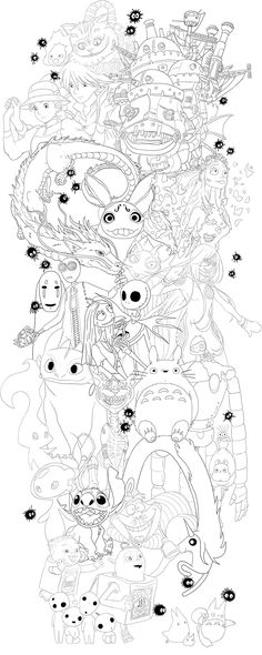 Line work for a tattoo design featuring animated characters from cartoons, films, games and anime, including Studio Ghibli, Disney, Tim Burton and Laika. By InkyPunk